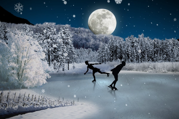 Ice Skaters Holiday Ecard