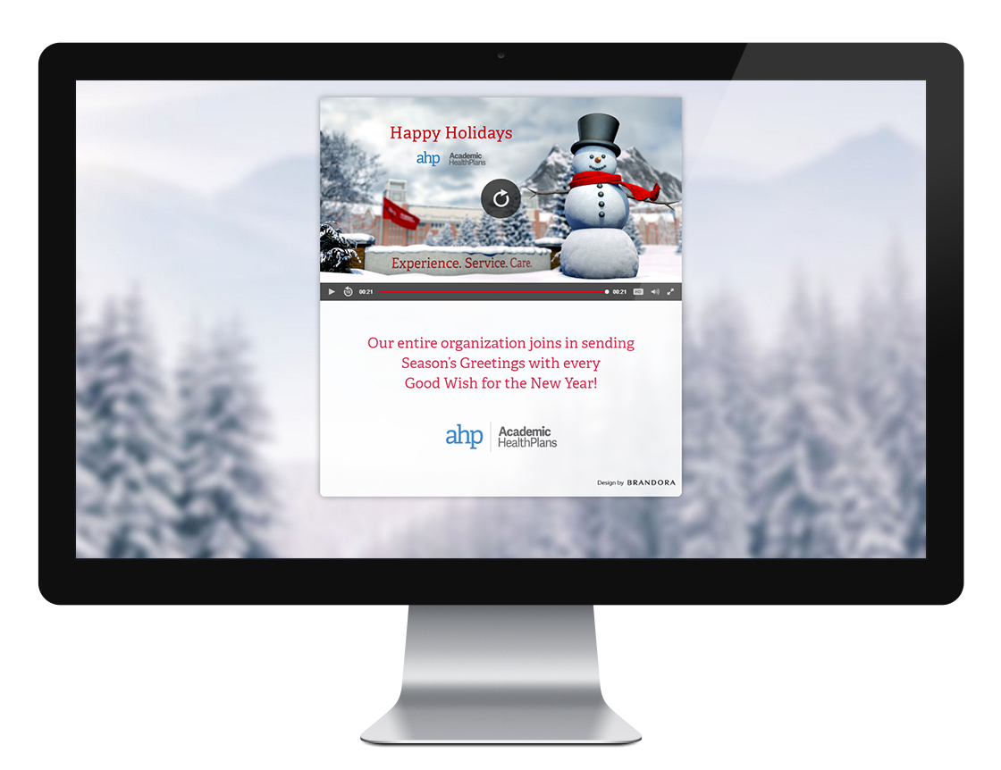 ahp university snowman holiday ecard brandora cutting edge
