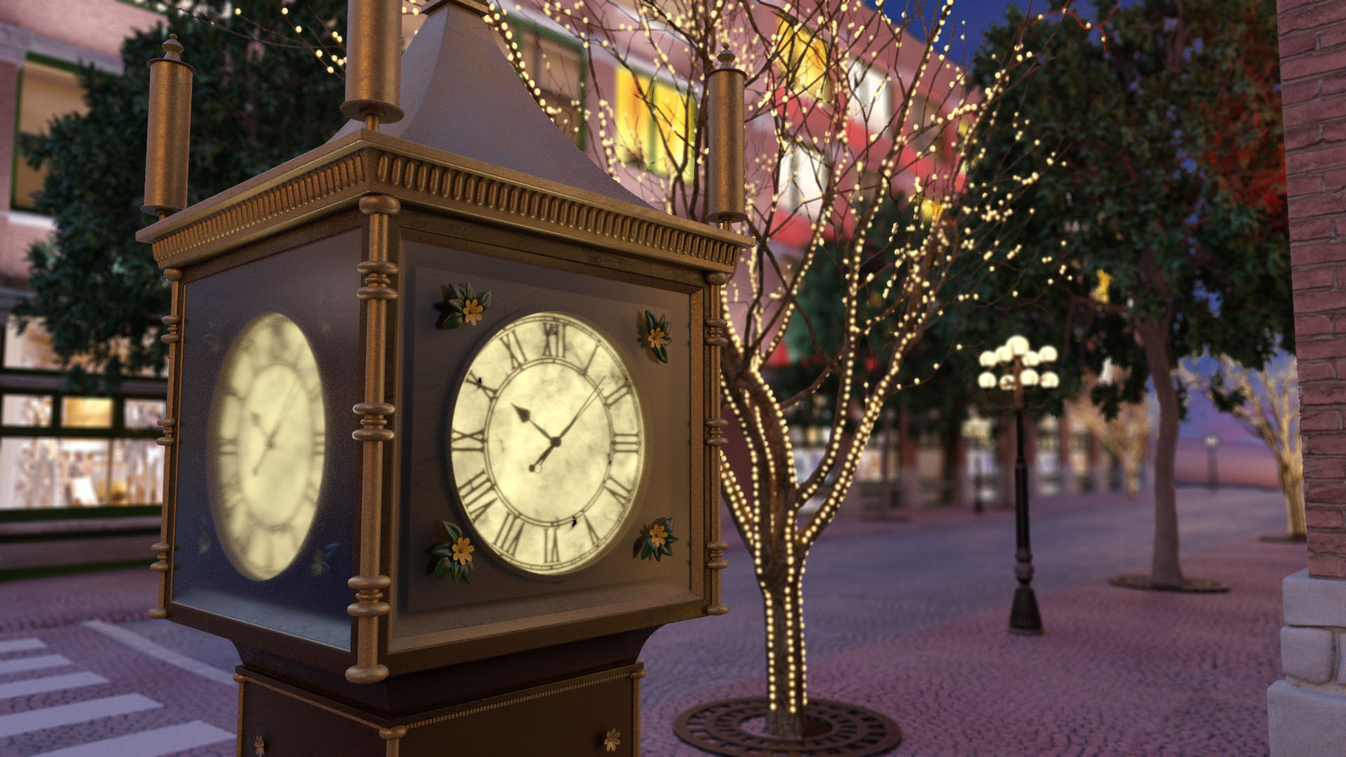 Hall Render Holiday Clock Ecard